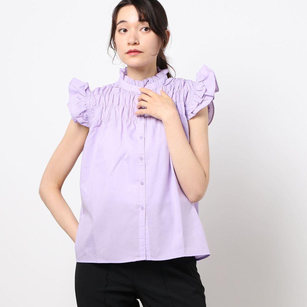日本 Riche Glamour - 優雅抓皺飛飛袖無袖襯衫-紫