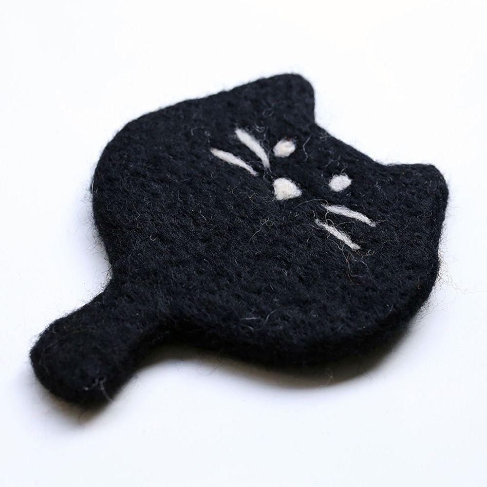 可愛動物造型羊毛氈杯墊-小黑貓
