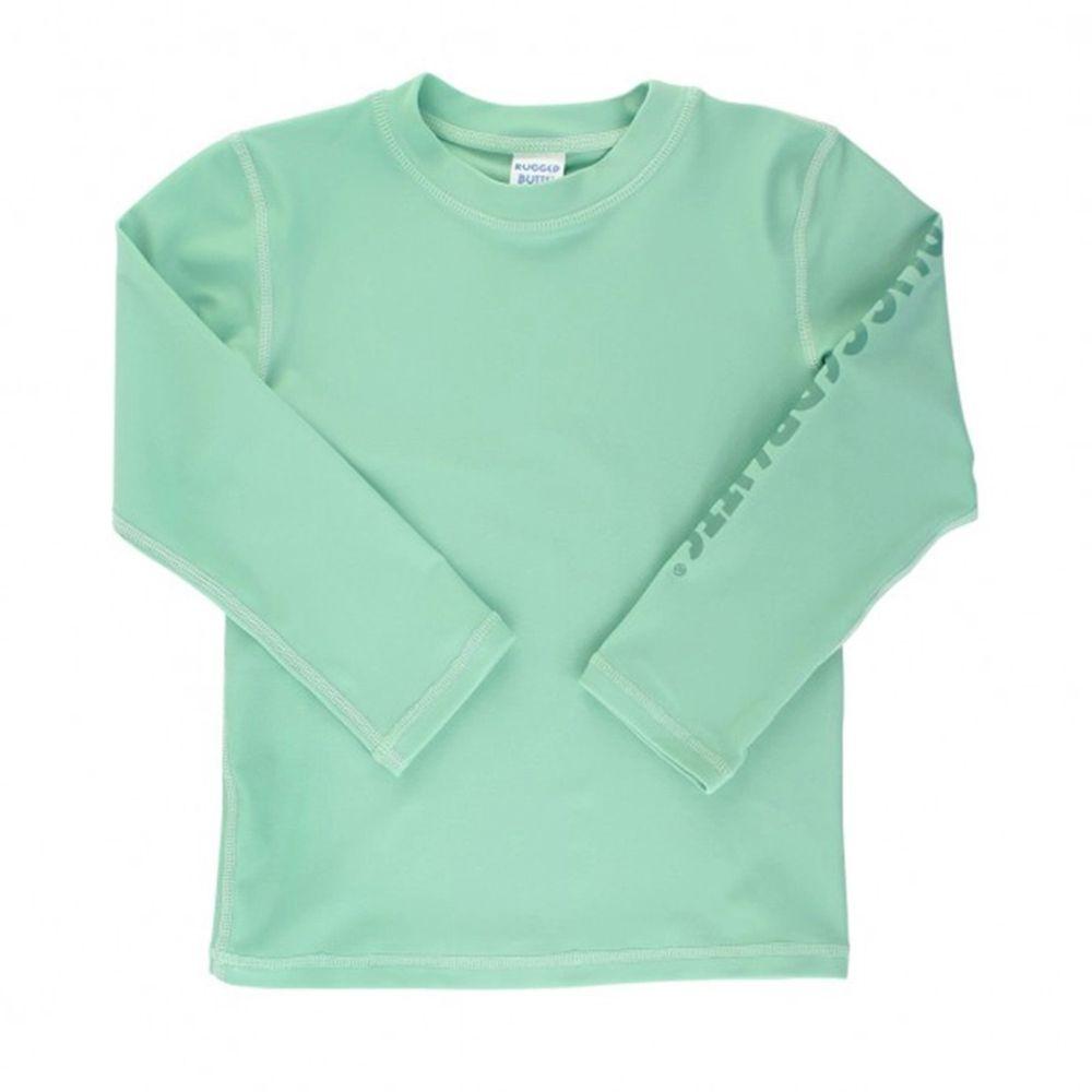 美國 RuffleButts - 小男童UPF 50+防曬長袖泳衣-大地綠色