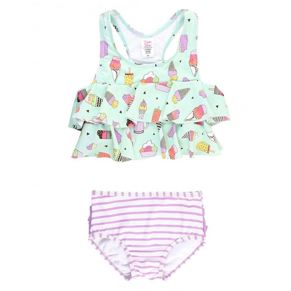 美國 RuffleButts - 小女童UPF 50+防曬兩件式無袖泳裝-派對甜心