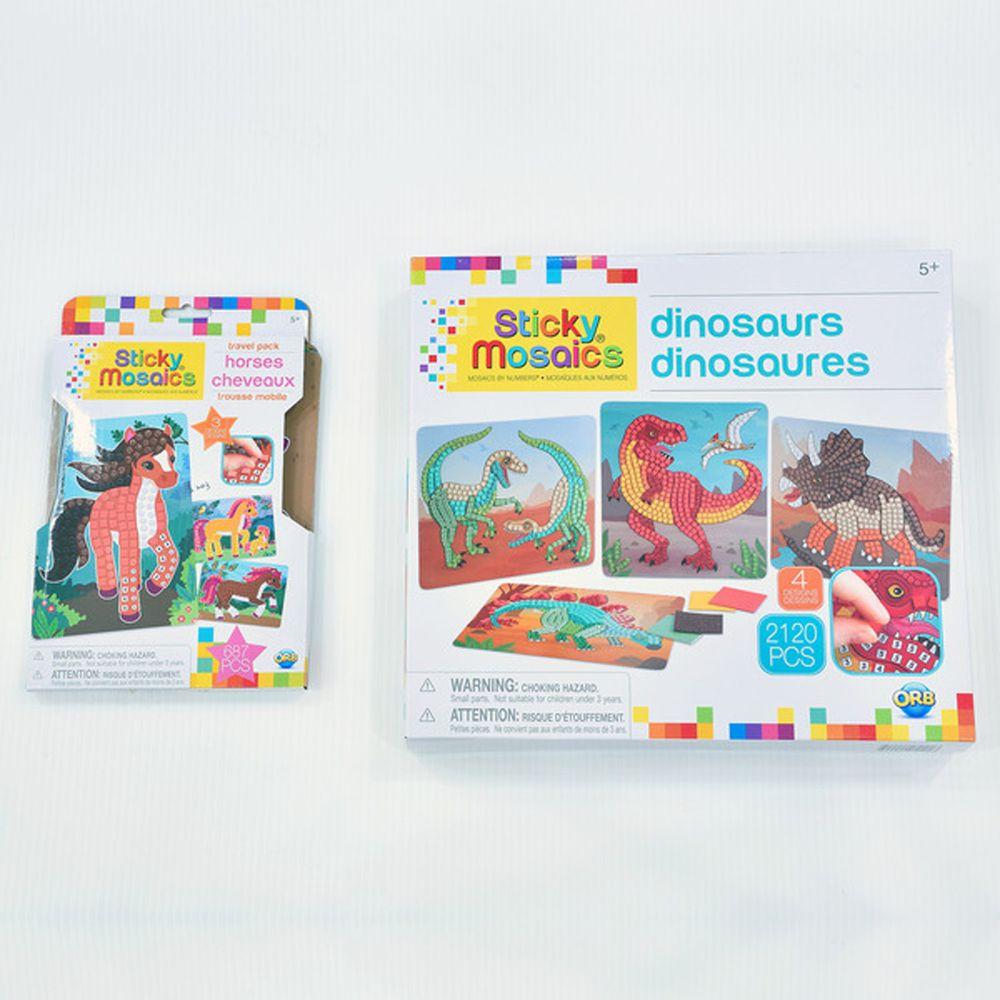 加拿大 Sticky Mosaics - 馬賽克拼貼組-男童-恐龍+駿馬