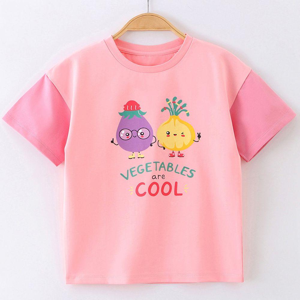 FitUrBabe - 彈力棉質短袖上衣-蔬菜夥伴-粉色