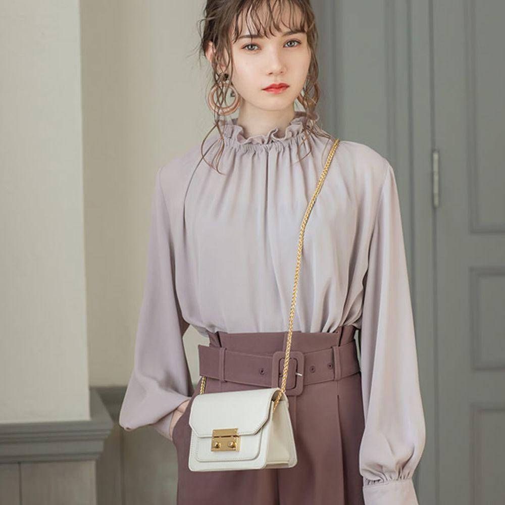 日本 GRL - 氣質小荷葉領雪紡長袖上衣-紫