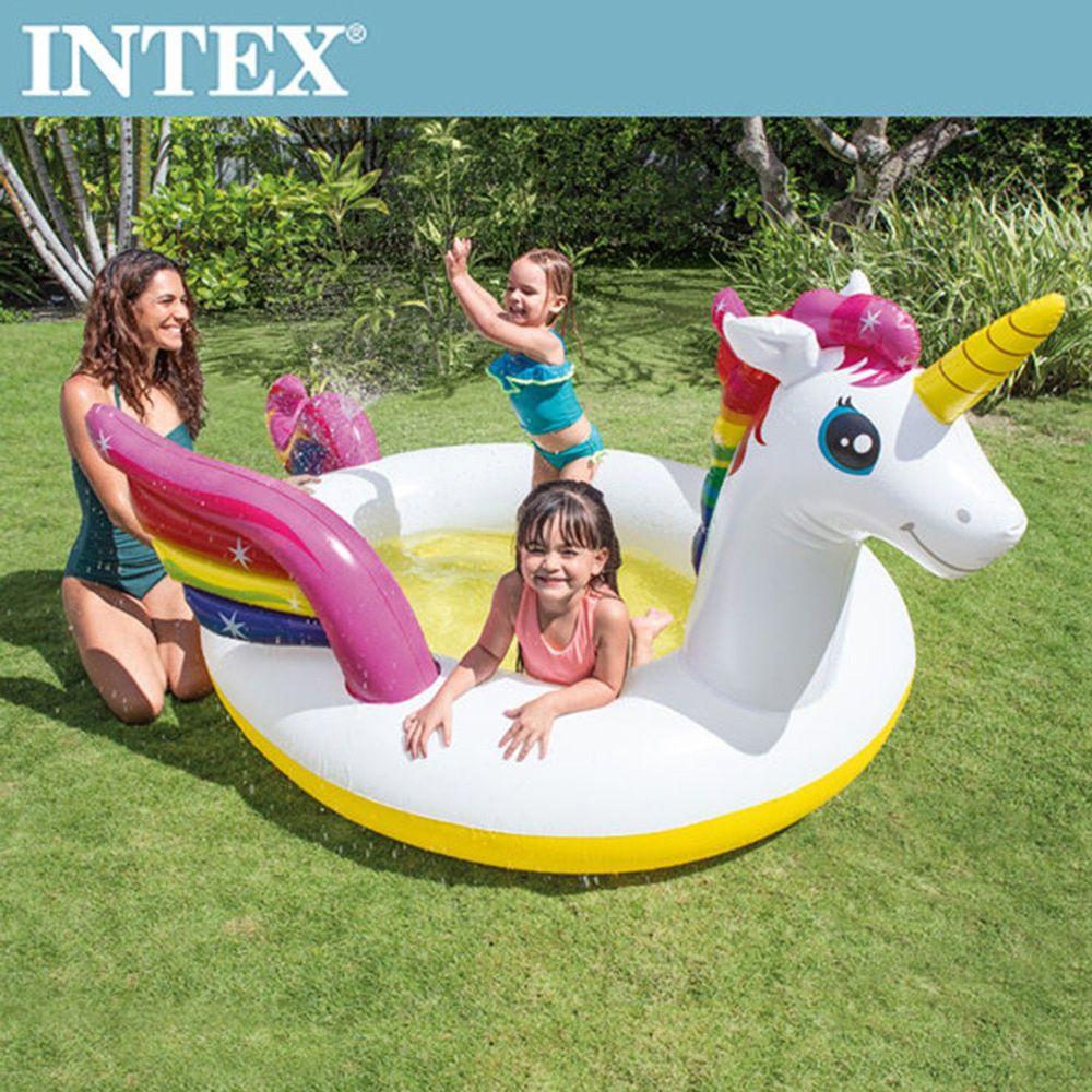 INTEX - 【限量促銷】獨角獸噴水戲水游泳池(151L)適用2歲+
