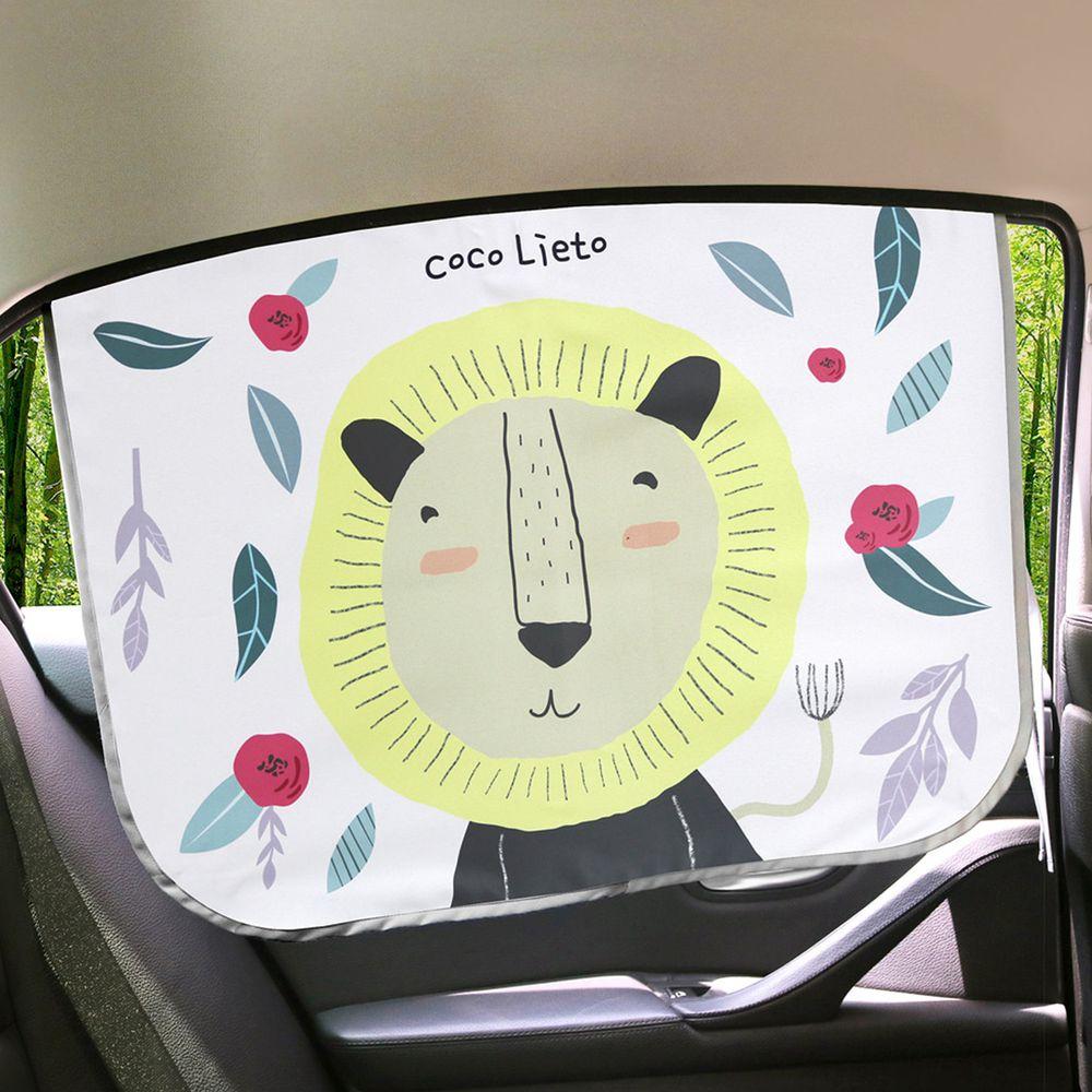 韓國 Lieto baby - 磁鐵式三層抗UV遮陽窗簾-開心獅子 (67*48cm)