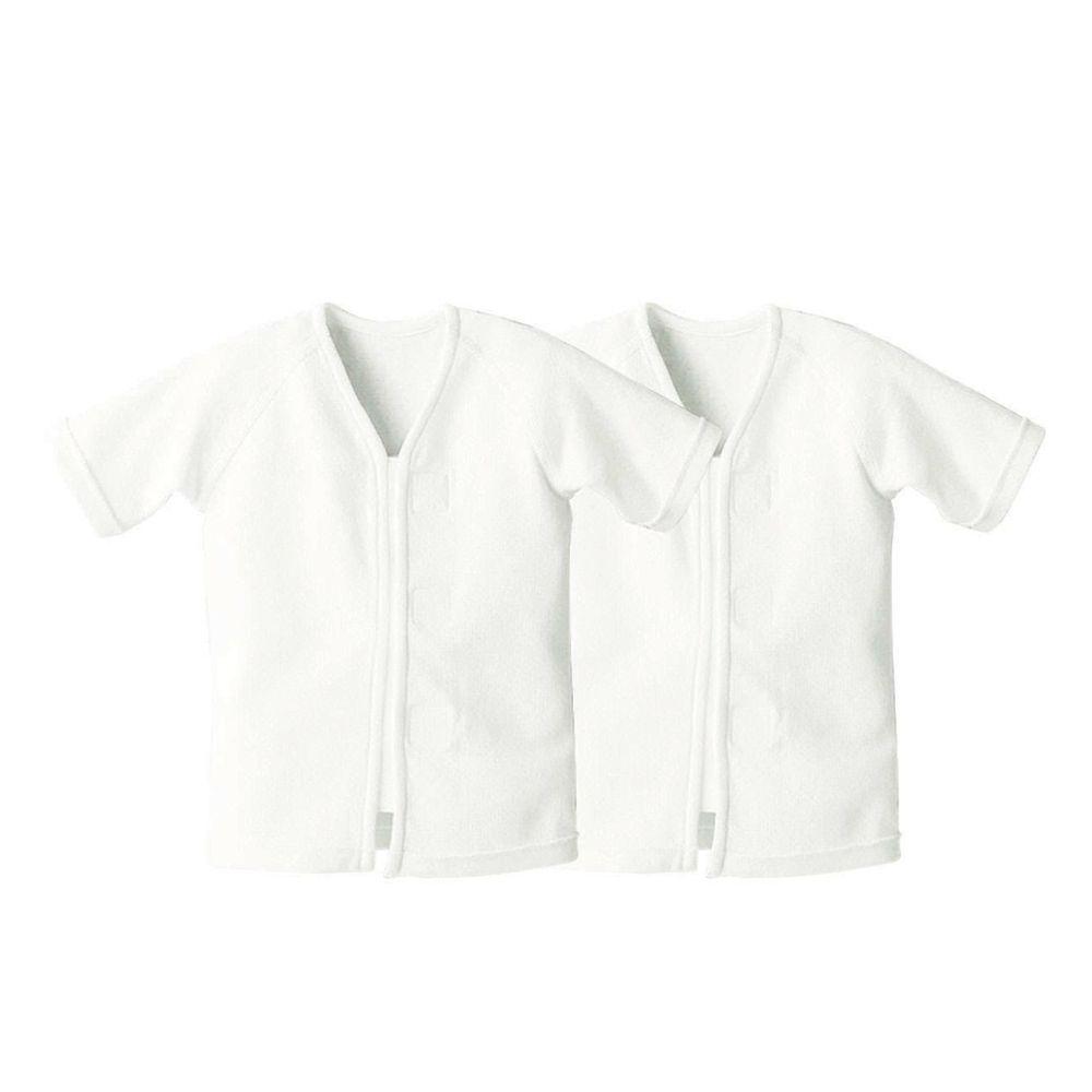 日本 Combi - mini系列-純棉保暖肚衣(黏貼式,7分袖)-白色*2 (60-70)