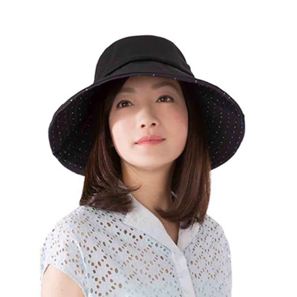 日本 SUN FAMILY - 體感-2.9度可折疊兩面抗UV遮陽帽-黑X點點 (頭圍57.5cm內)
