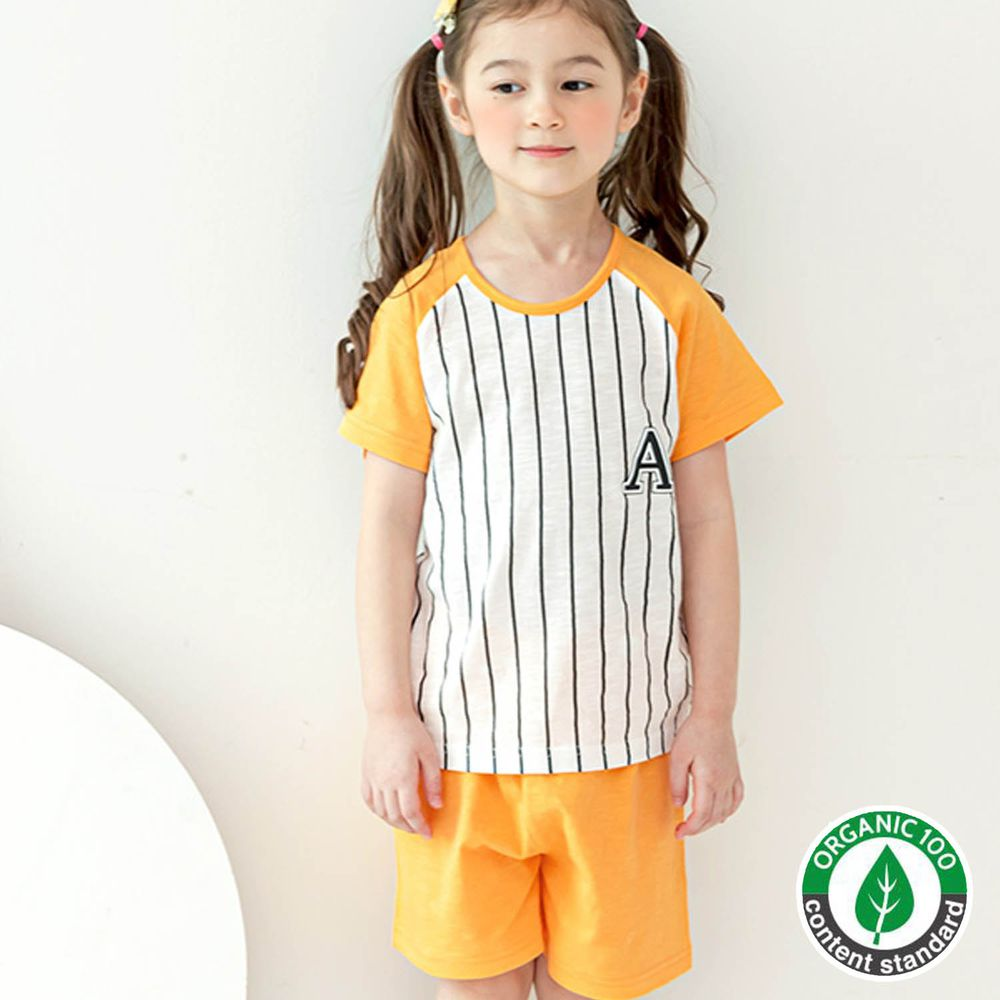 韓國 Maykids - 有機棉細柔短袖袖家居服-黃色棒球服