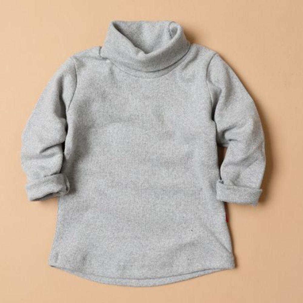 韓國製 - 桃皮絨高領素色內搭衣-淺灰
