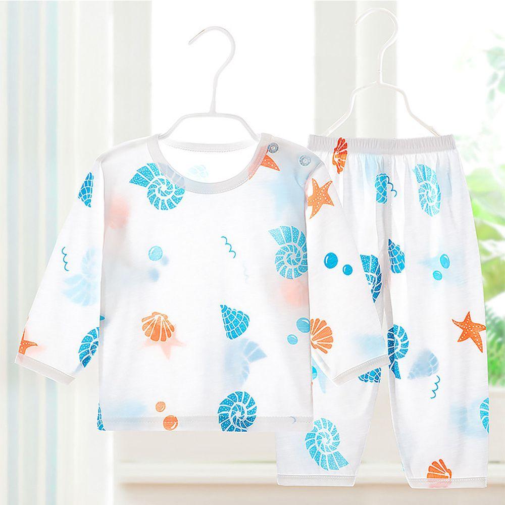超薄款竹纖維睡衣家居服套裝-海螺貝殼