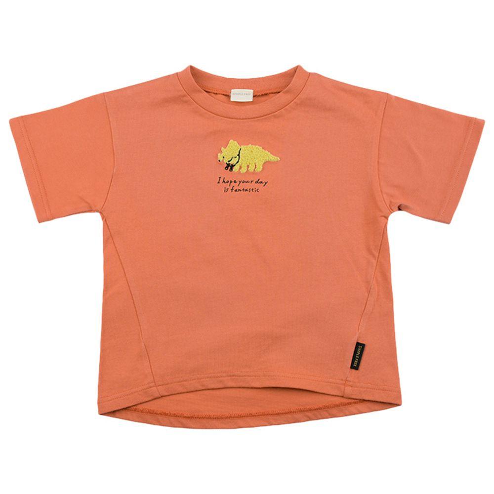 akachan honpo - 短袖趣味T恤-動物刺繡-橘色