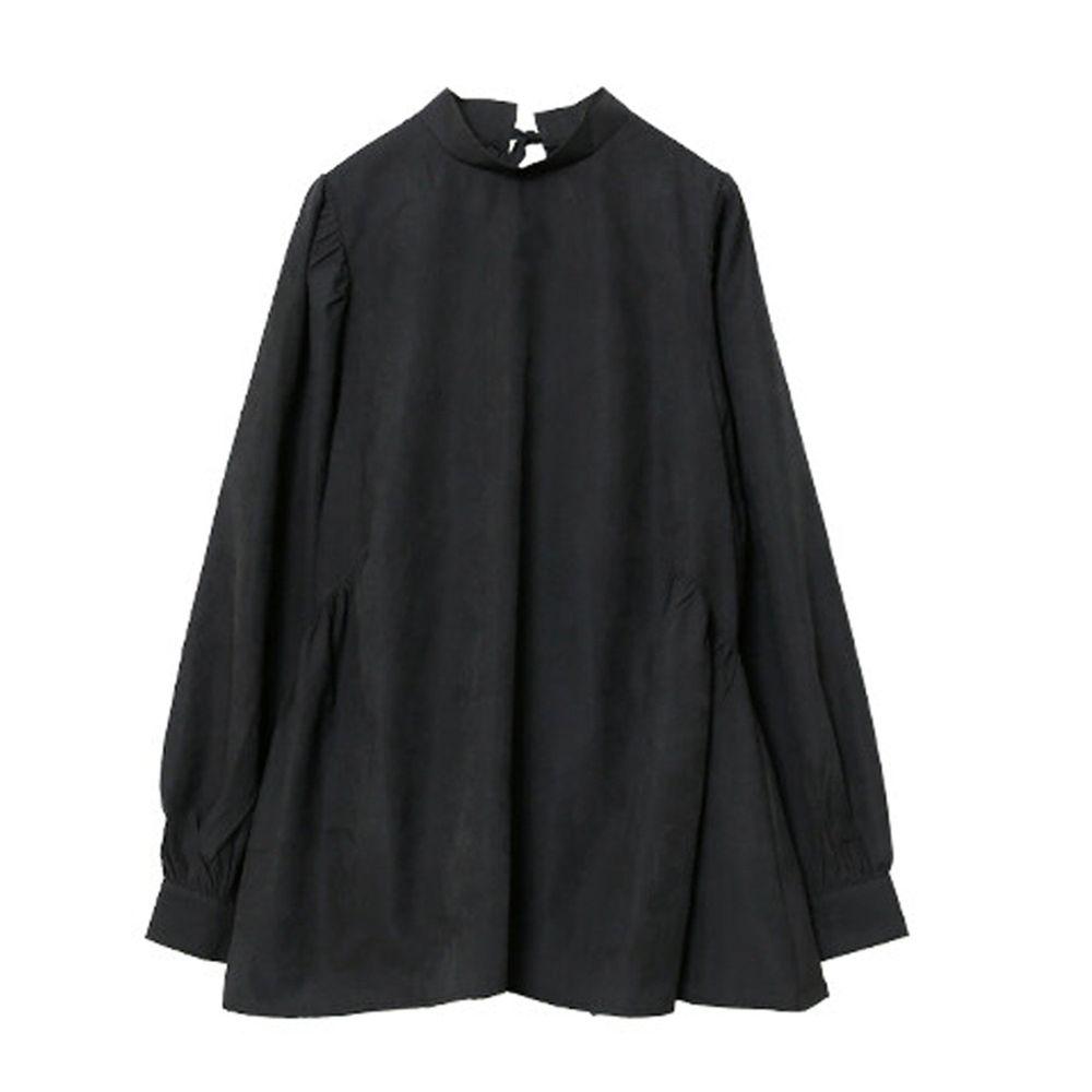 日本女裝代購 - 後蝴蝶結綁帶燈籠袖長袖上衣-黑 (M(Free size))