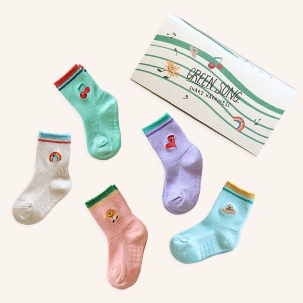 韓國 Kokacharm - 韓國製踝襪-五件組-Green Song