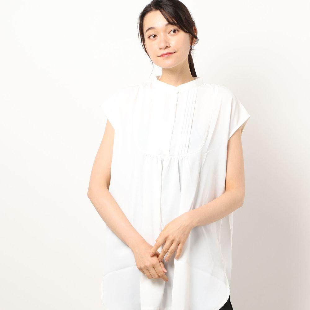 日本 Riche Glamour - 胸口小百褶抓皺設計無袖上衣-白
