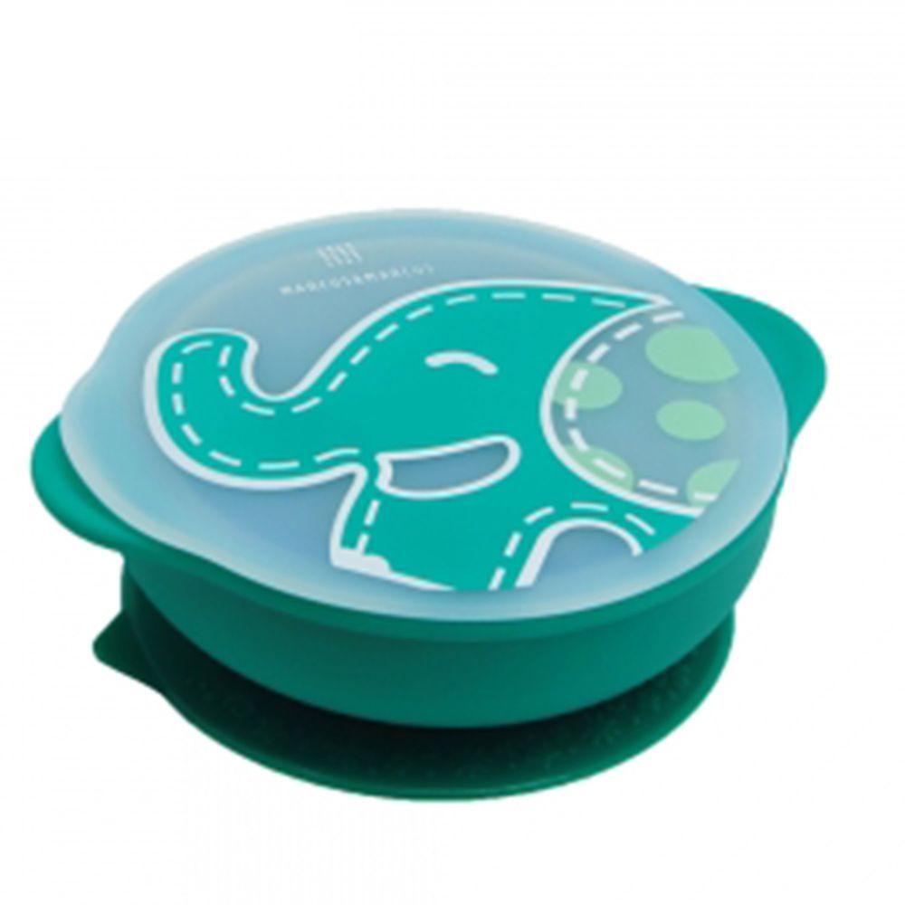 MARCUS&MARCUS - 動物樂園幼兒自主學習吸盤碗含蓋-綠色