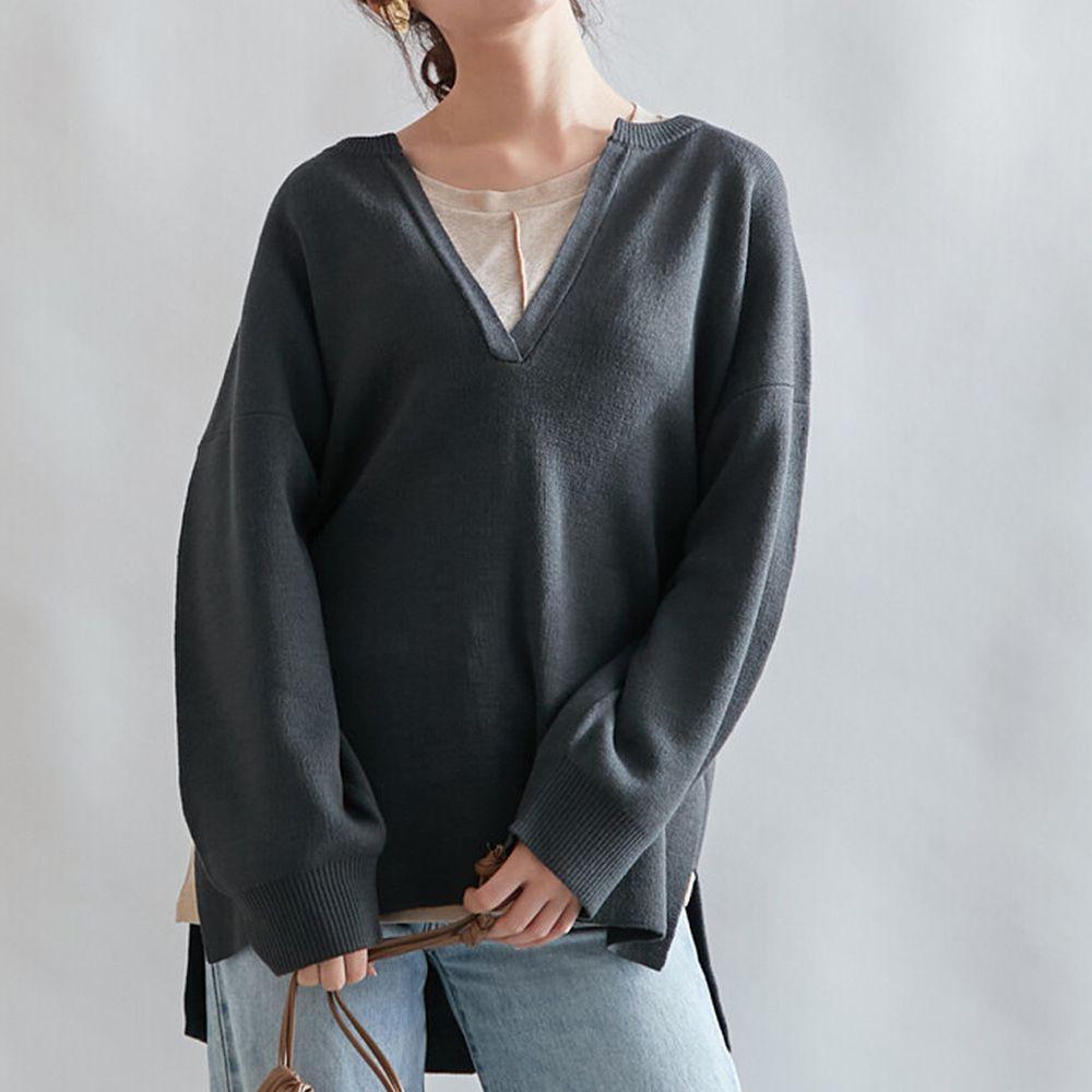 日本女裝代購 - 深V領立體線條針織毛衣-墨黑 (M(Free size))