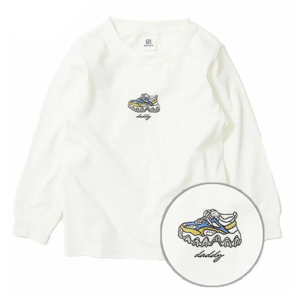日本 devirock - 純棉 定番百搭印花長T-老爹鞋-白