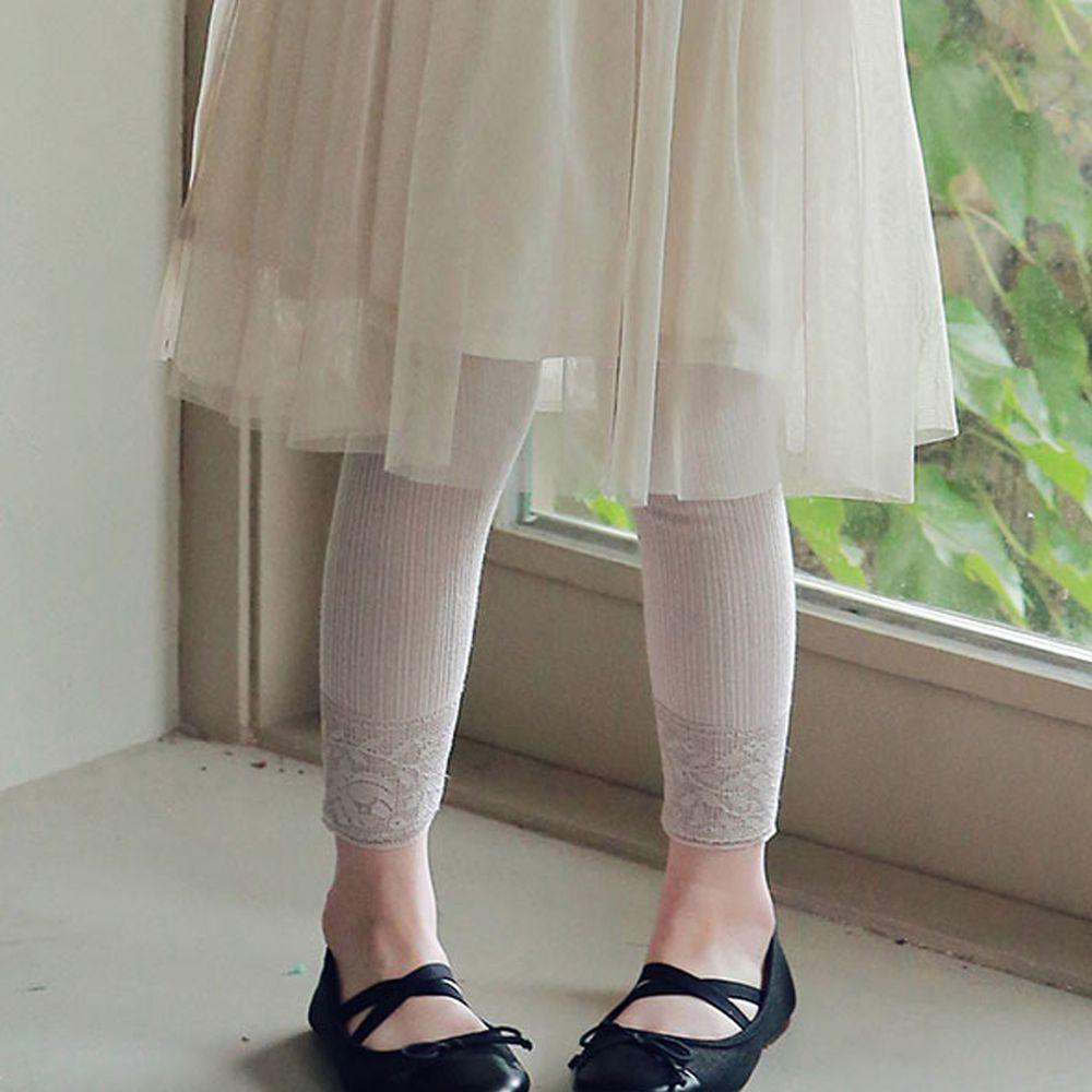 韓國 PuellaFLO - 蕾絲雕花褲管針織內搭褲-粉紅