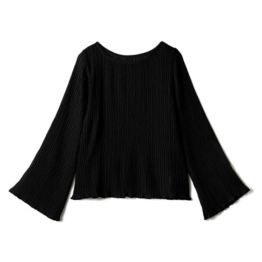 日本 GRL - 水波紋寬袖設計微透膚長袖上衣-黑