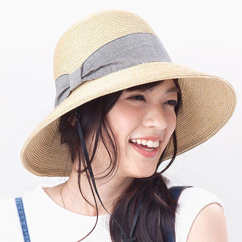 日本服飾代購 - 【irodori】抗UV可捲收 大緞帶遮陽草帽(附防風帽帶)-杏X丹寧緞帶