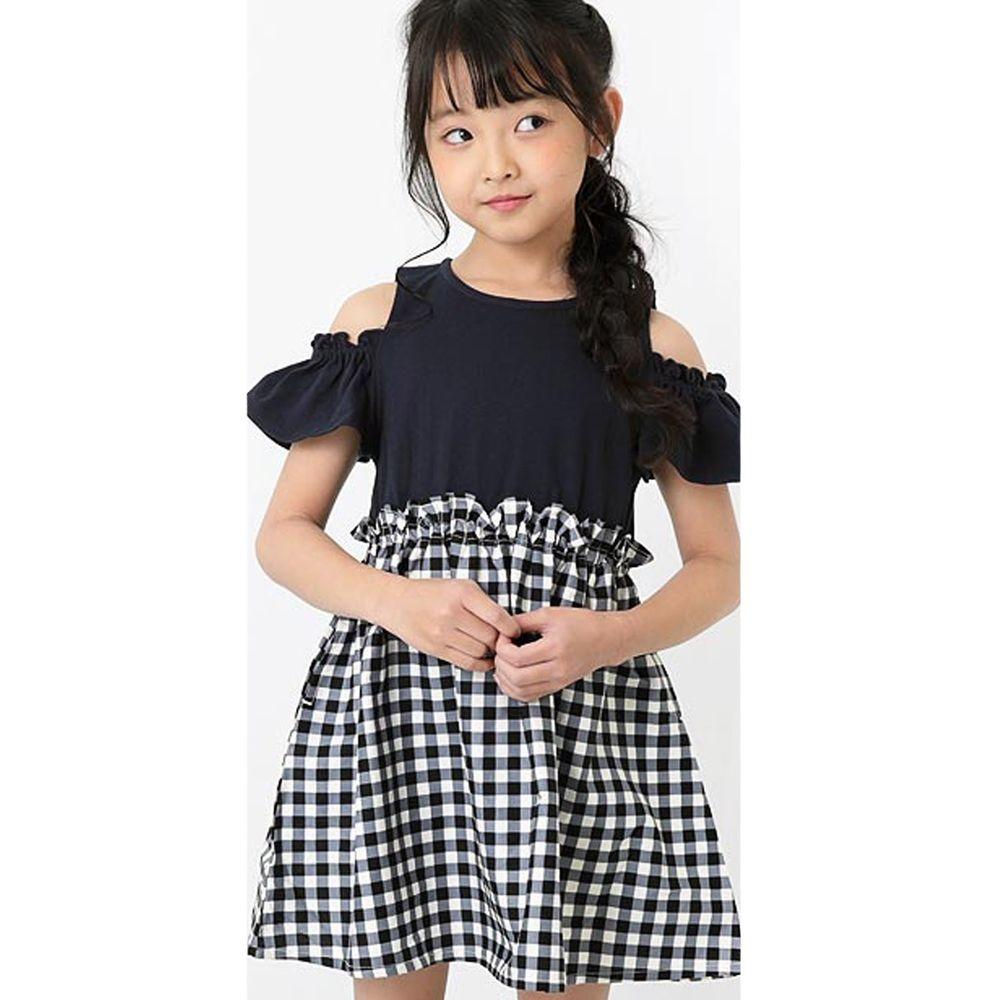 日本 devirock - 挖肩荷葉短袖拼接洋裝-黑X黑白格紋
