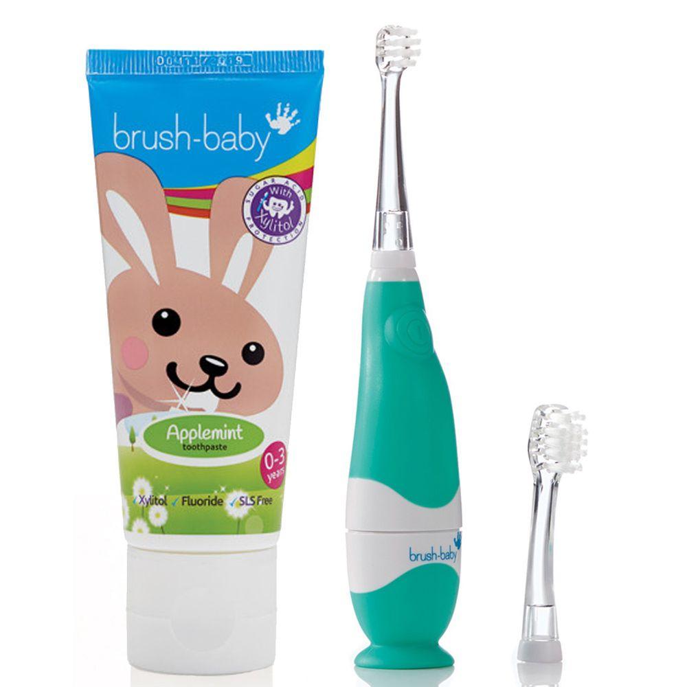 英國 brush-baby - 嬰幼兒聲波電動牙刷+貝寶兔木糖醇牙膏(50ml)-0-3歲用