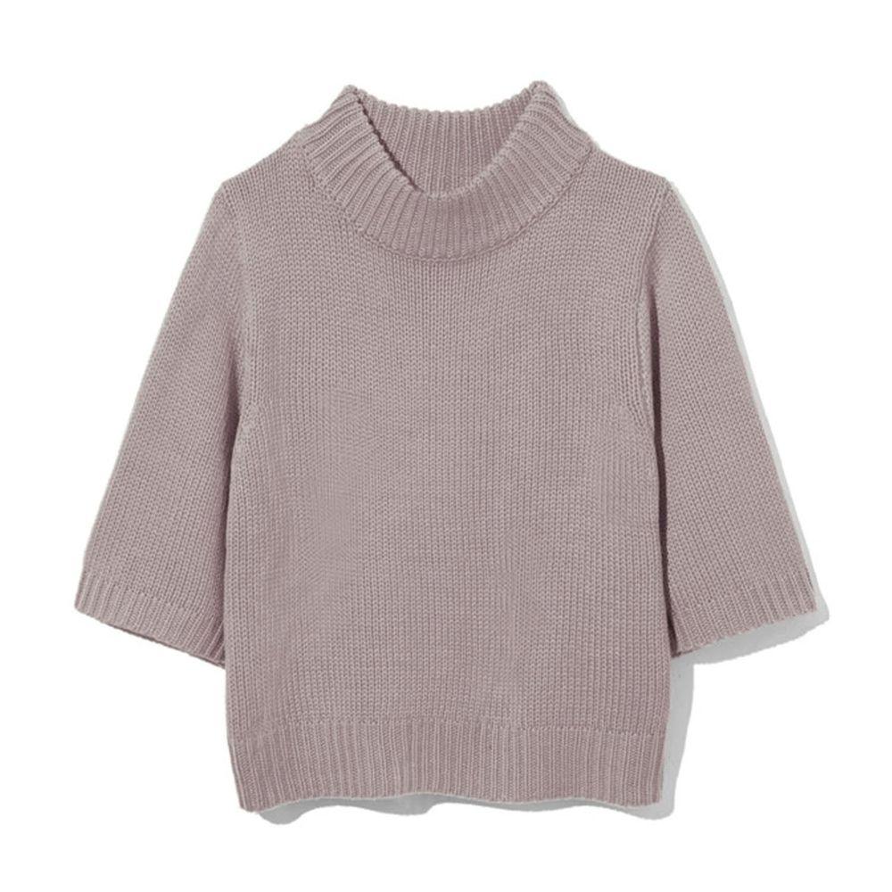 日本 GRL - 寬版顯瘦小高領七分袖針織上衣-灰杏