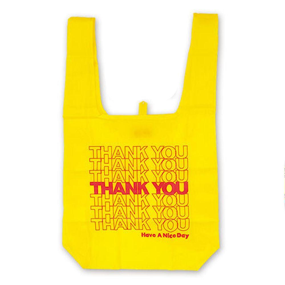 日本 OKUTANI - 折疊購物袋-THANK YOU-黃 (33x58cm)