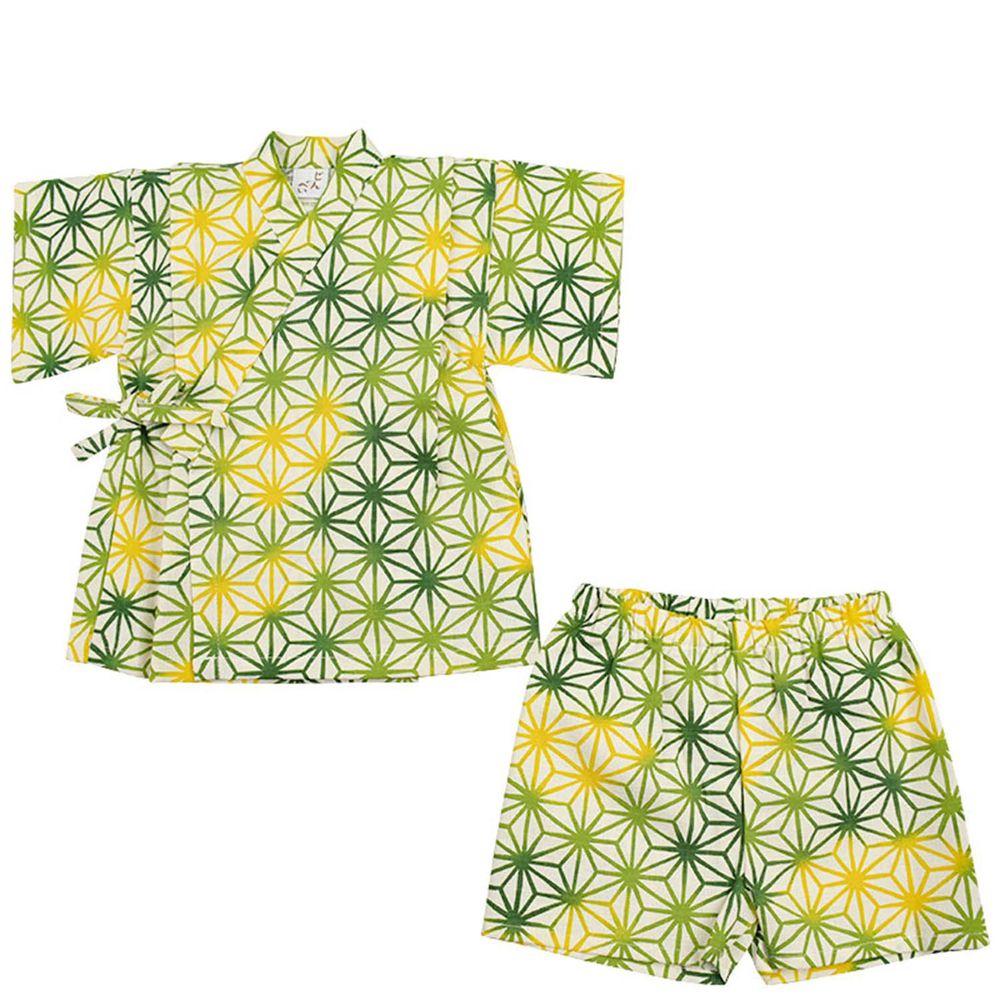 akachan honpo - 兩件式甚平-麻葉-綠色