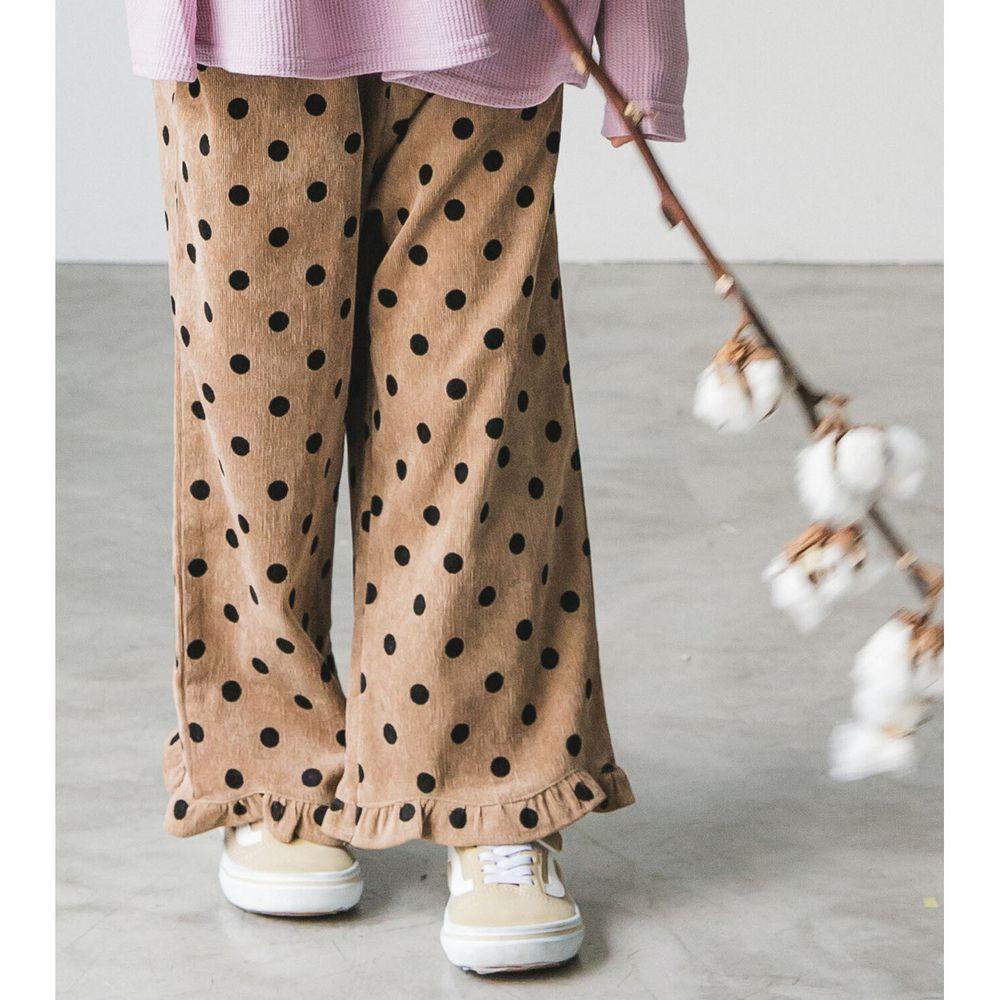 日本 PAIRMANON - 荷葉造型寬褲-點點-摩卡