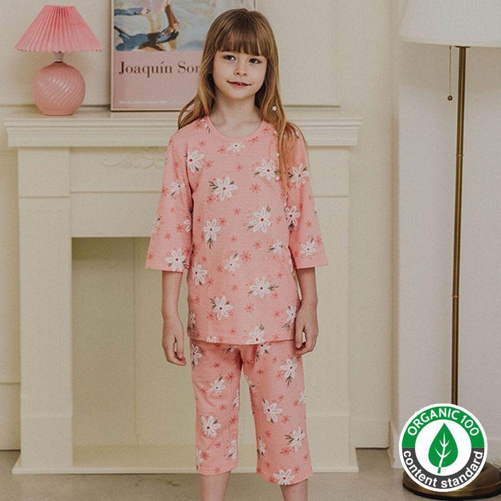 韓國 Mavarm Organic - 有機棉透氣七分袖家居服-粉紅花朵