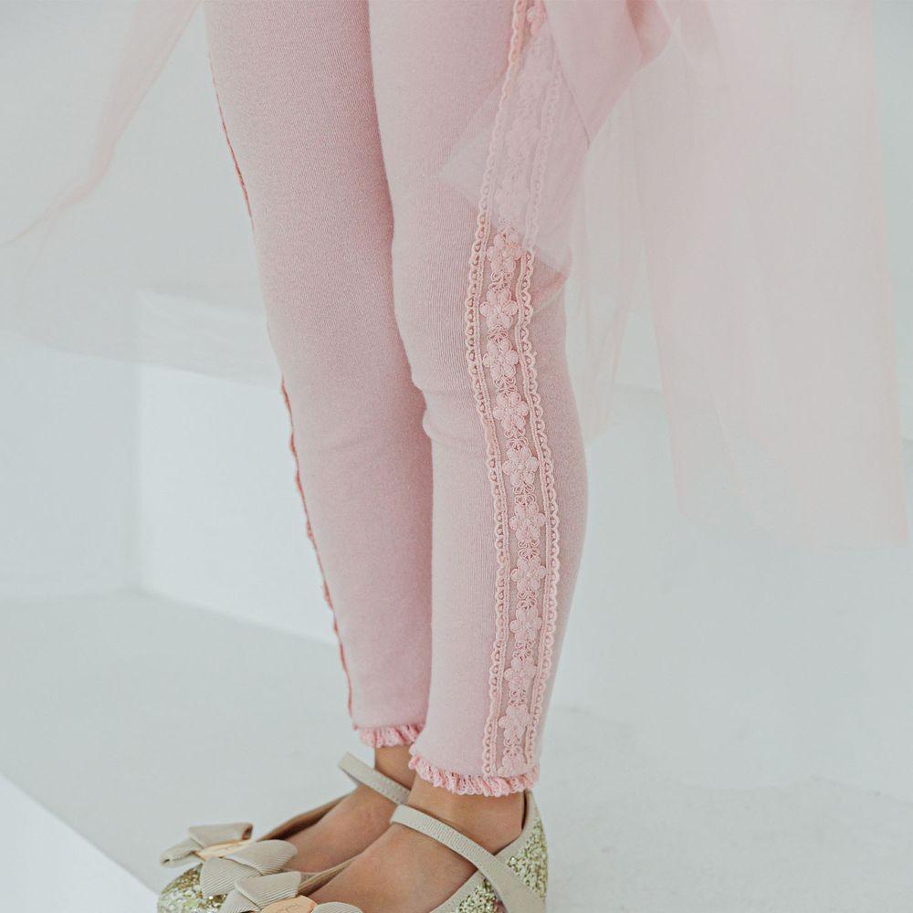 韓國 Mari an u - 雕花蕾絲滾邊內搭褲-粉紅