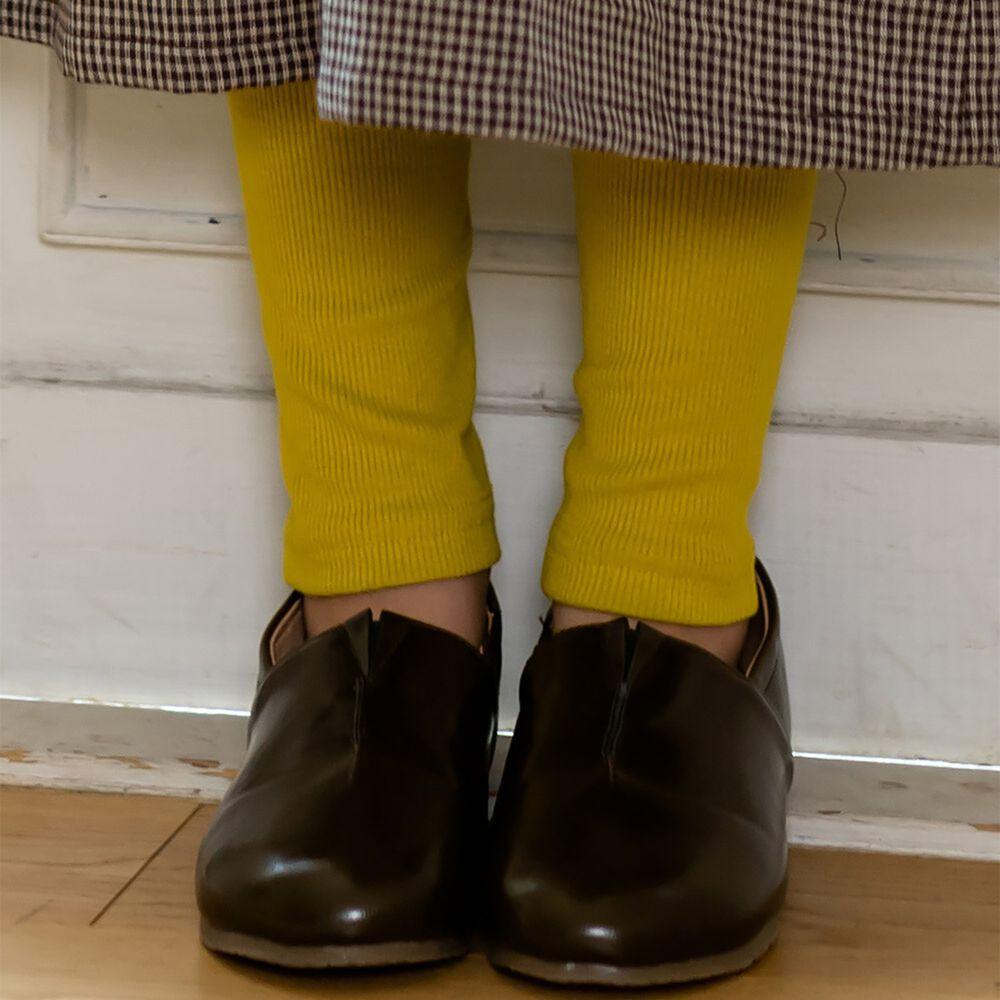 日本 riziere - 羅紋彈性修身內搭褲-芥末黃