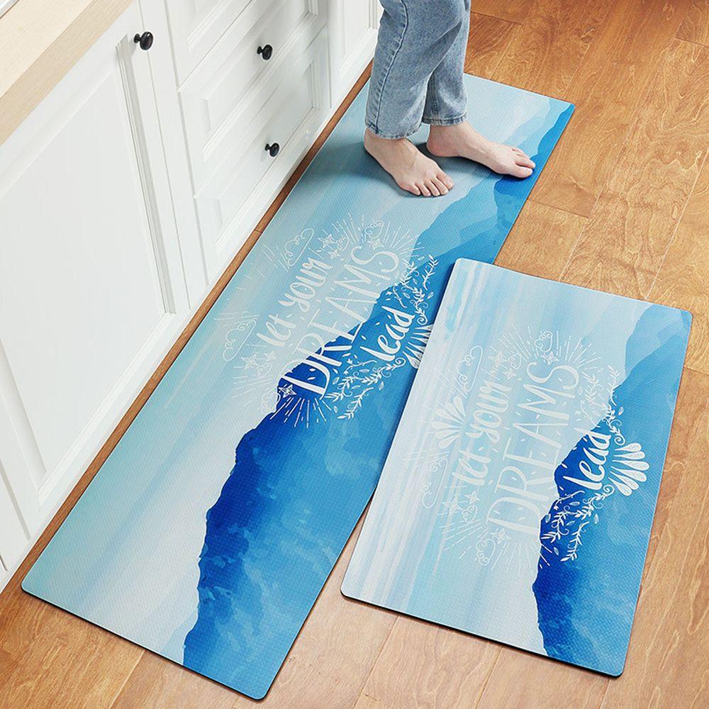 廚房仿皮革PVC防水腳踏墊-let your dreams-藍色