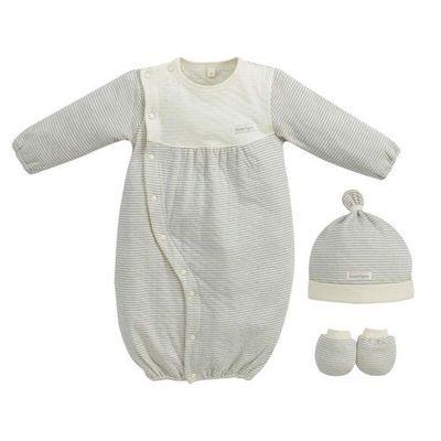 經典條紋系列-有機棉新生兒禮盒-秋冬款-淺灰-兩用妙妙裝x1+幼兒帽x1+x手套x1
