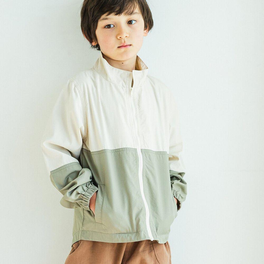 日本 PAIRMANON - 輕薄防風尼龍夾克-白X薄荷綠