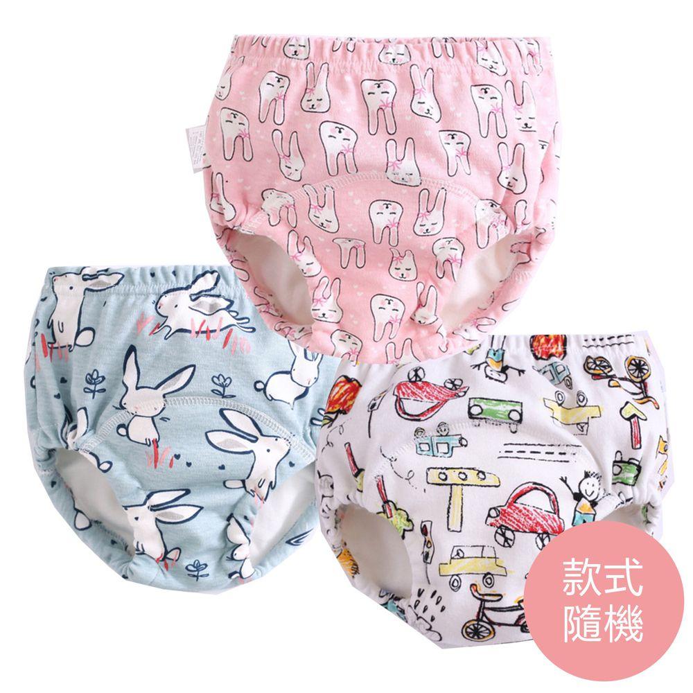 JoyNa - 6層紗嬰兒尿布褲 鬆緊隔尿褲-3件入-粉小兔子頭+隨機2入