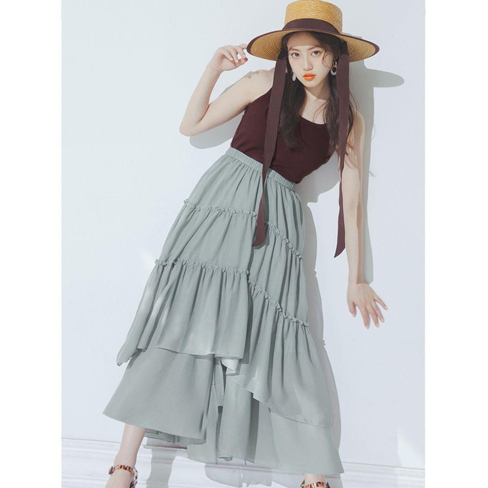 日本 GRL - 明星聯名款 多層次蛋糕長裙-莫蘭迪綠