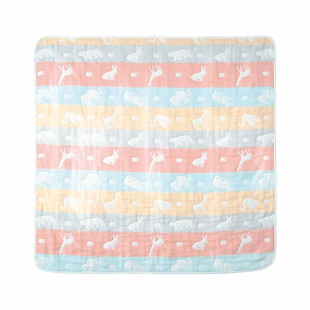 日本 Combi - mini系列-六層紗方形包巾-粉彩動物 (85x85cm)