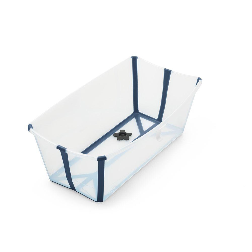 Stokke - Flexi Bath折疊式浴盆(感溫水塞)-透明藍
