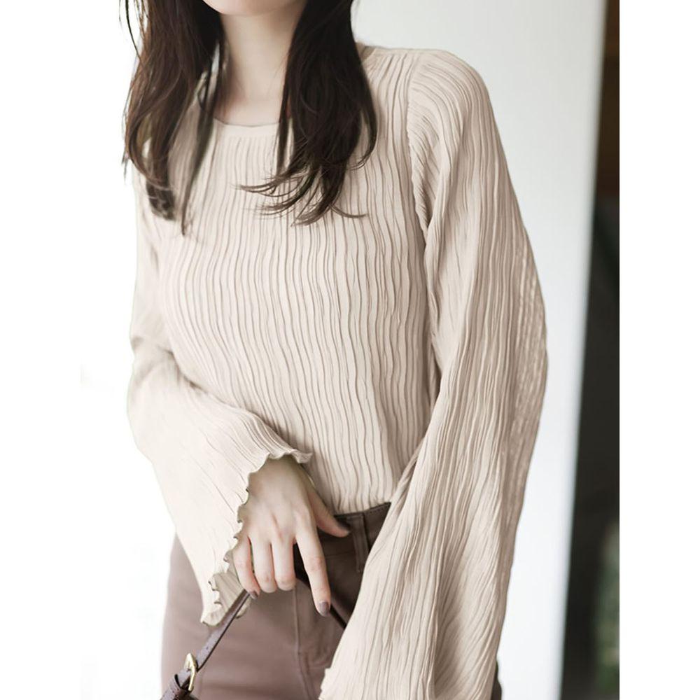 日本 GRL - 水波紋寬袖設計微透膚長袖上衣-米