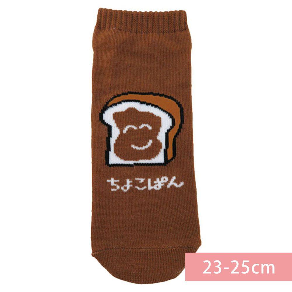 日本 OKUTANI - 童趣日文插畫短襪-巧克力吐司-咖啡 (23-25cm)