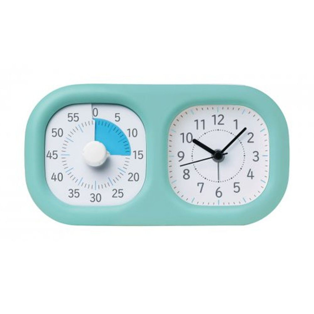 日本文具 SONIC - 時間流逝實感 倒數時鐘+時鐘-薄荷綠
