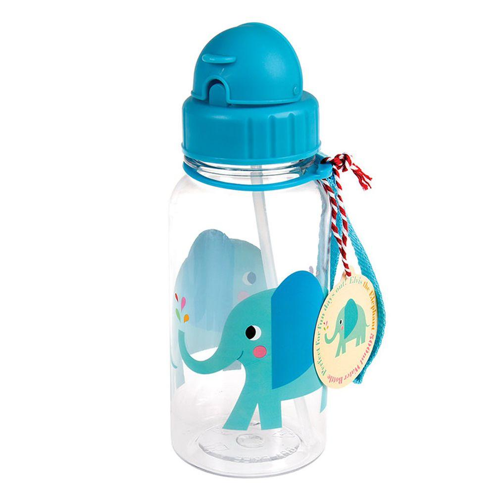 英國 Rex London - 兒童吸管水瓶-藍色大象(500ML)