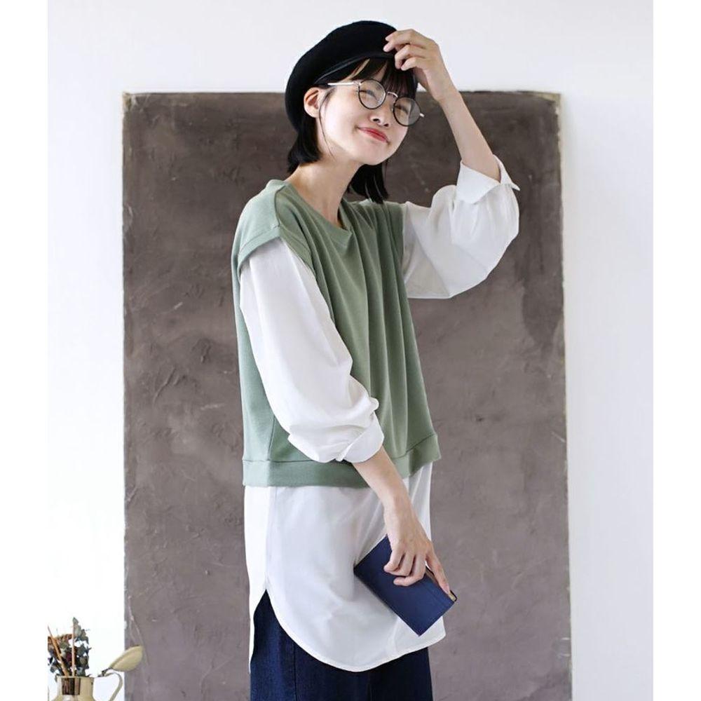 日本 zootie - 假兩件異材質襯衫背心造型長袖上衣-灰綠