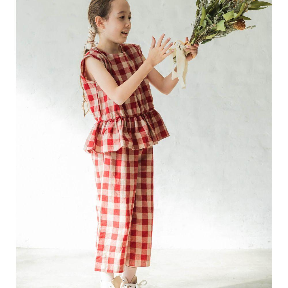 日本 PAIRMANON - 無袖荷葉衣襬上衣 X 寬褲套裝-格紋-紅
