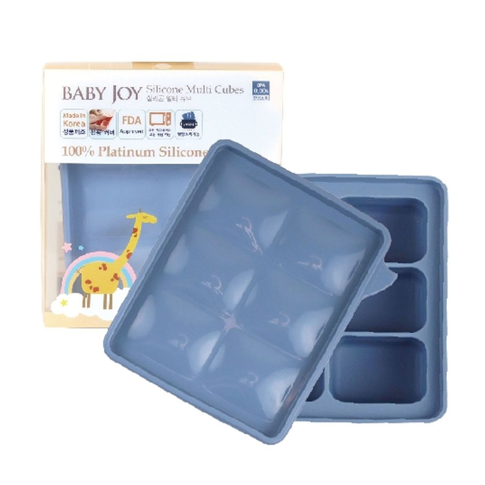 韓國 Pomier 朴蜜兒 - 冰分樂食物製冰盒-6格-莫蘭迪藍-1入裝