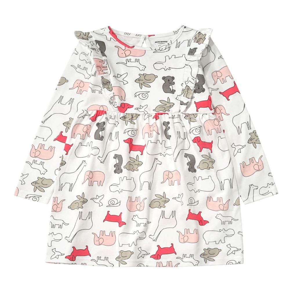 Minizone - 俏皮拼接公主裙-白色動物園