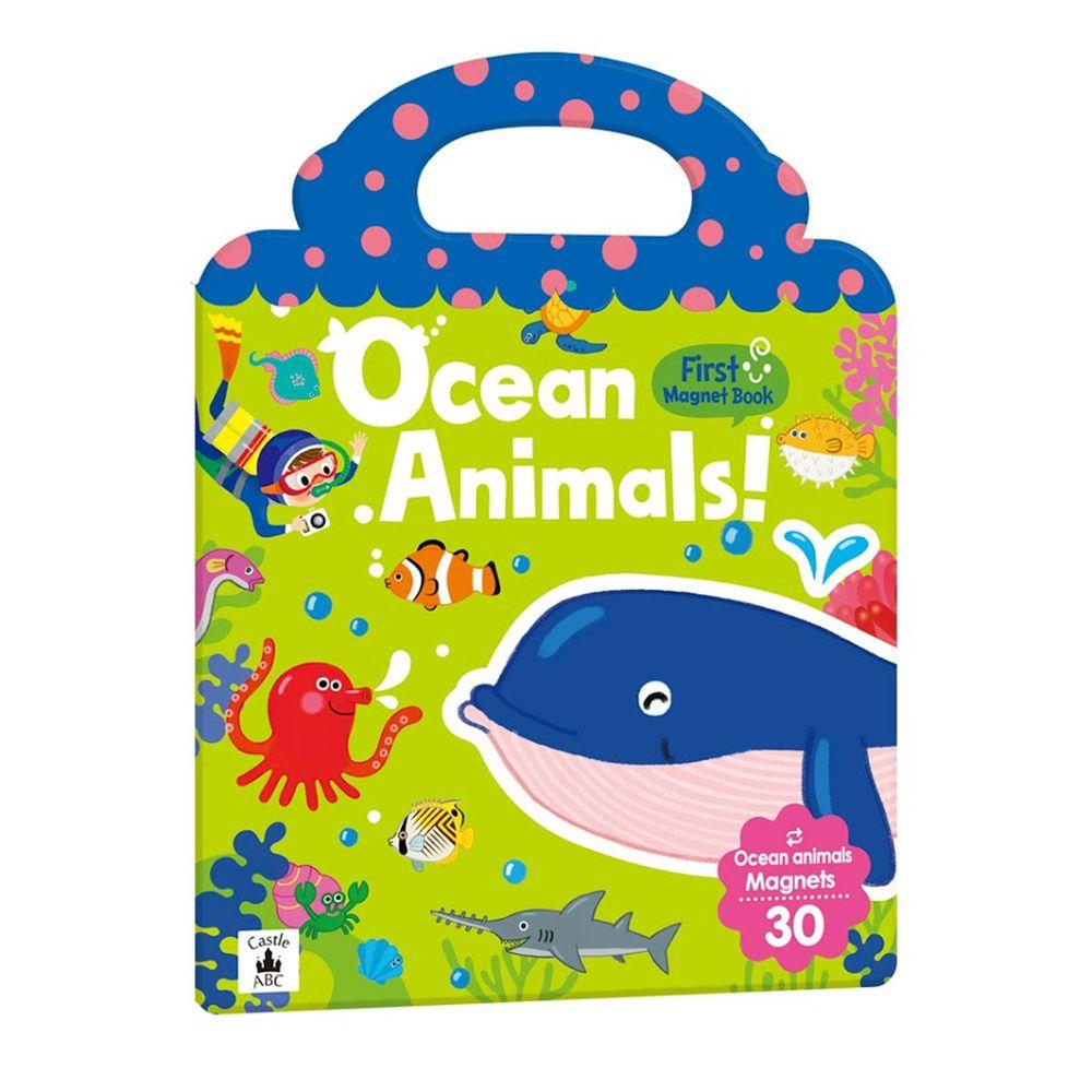英文磁鐵遊戲書-First Magnet Book - Ocean Animals-內含30個認知磁鐵+3摺頁超大場景