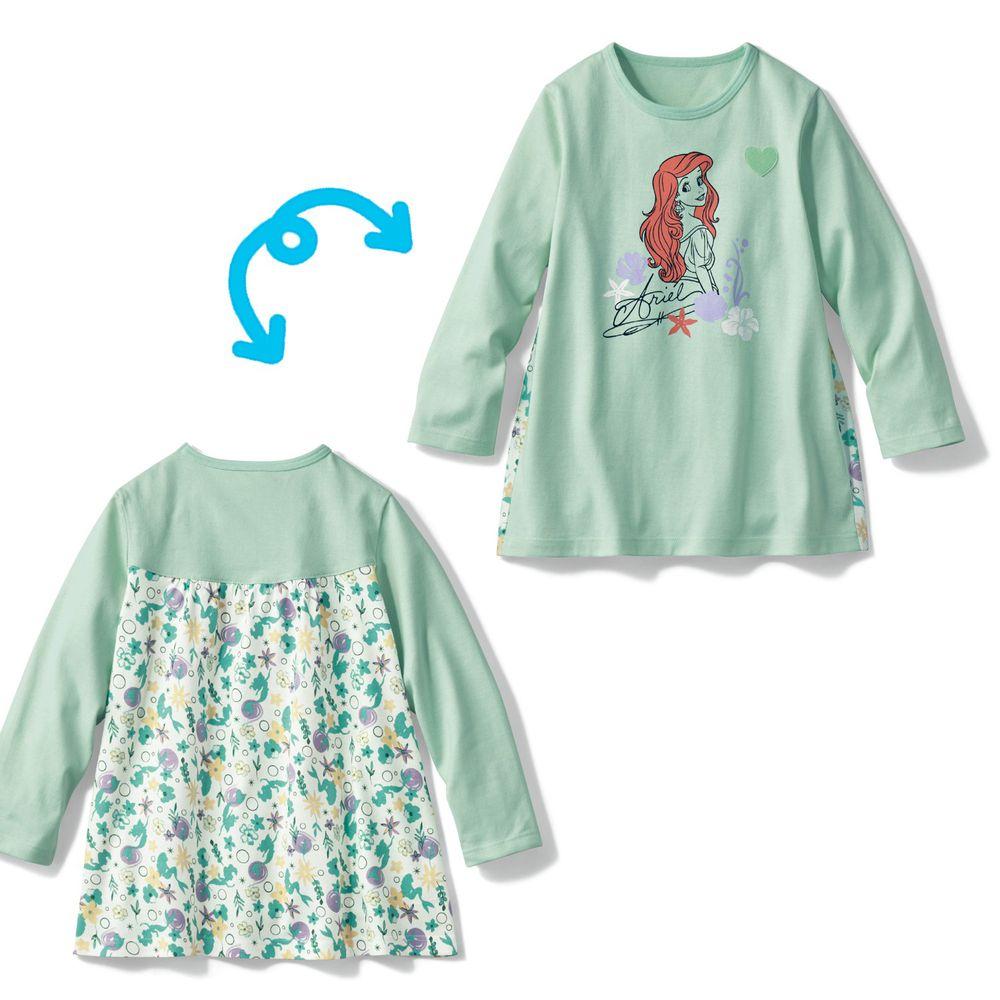 日本千趣會 - 迪士尼印花後方剪影花色長T-小美人魚-薄荷綠